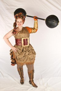Her leather belt is also modeled after a vintage Strongwoman belt.