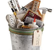 Your bucket may or may not contain these items, in addition to fabric, sewing supplies, gears, chocolate, or anything else that seems useful.