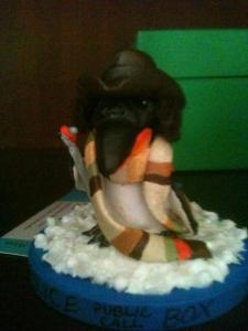My Tom Baker #4 Dr. Who Penguin as made by Lis.  LOOK AT HIS LITTLE SONIC SCREWDRIVER!!