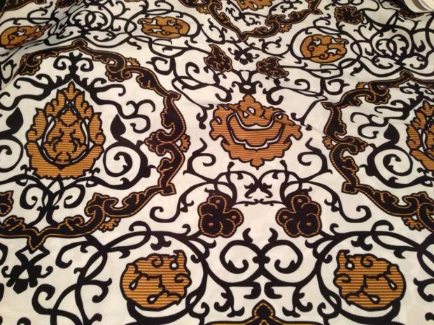 "The ""Eleonora di Toledo - Gold Velvet"" fabric from Bonnie's Spoonflower line in Silky Faille."