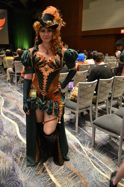 Nola in one of her innovative Steampunk designs.
